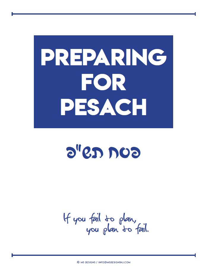 Amazing Generic Pesach Preparation Planner 1