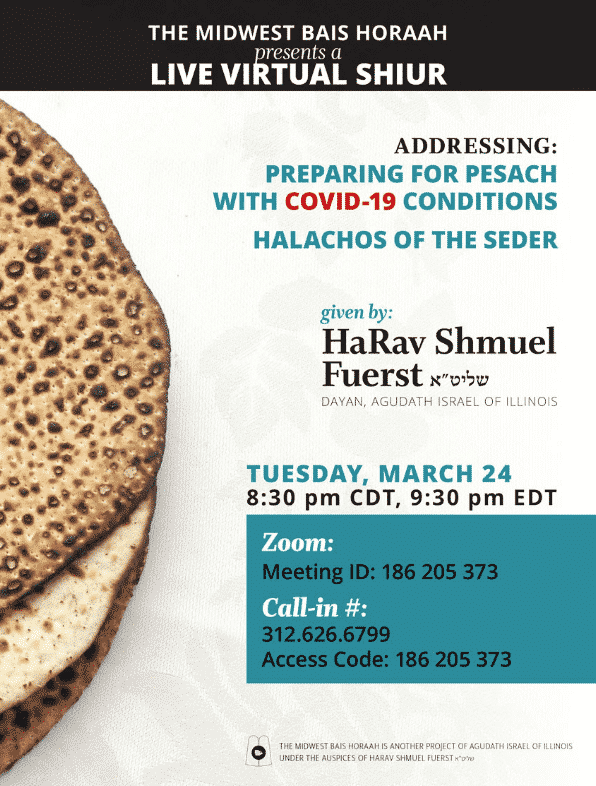 Preparing for Pesach with COVID-19 Conditions plus Halachos of the Seder 1