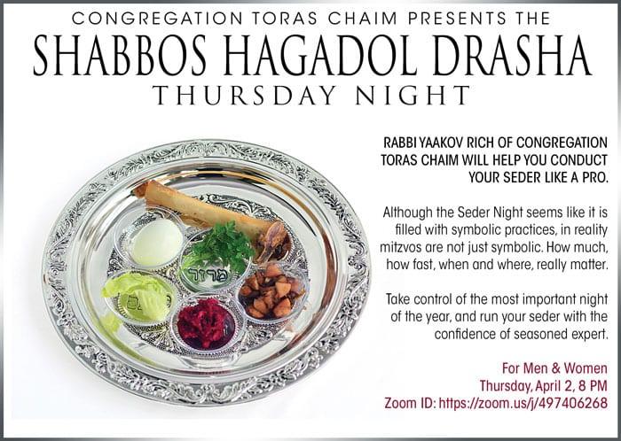 Shabbos HaGadol Drasha Thursday Night 1
