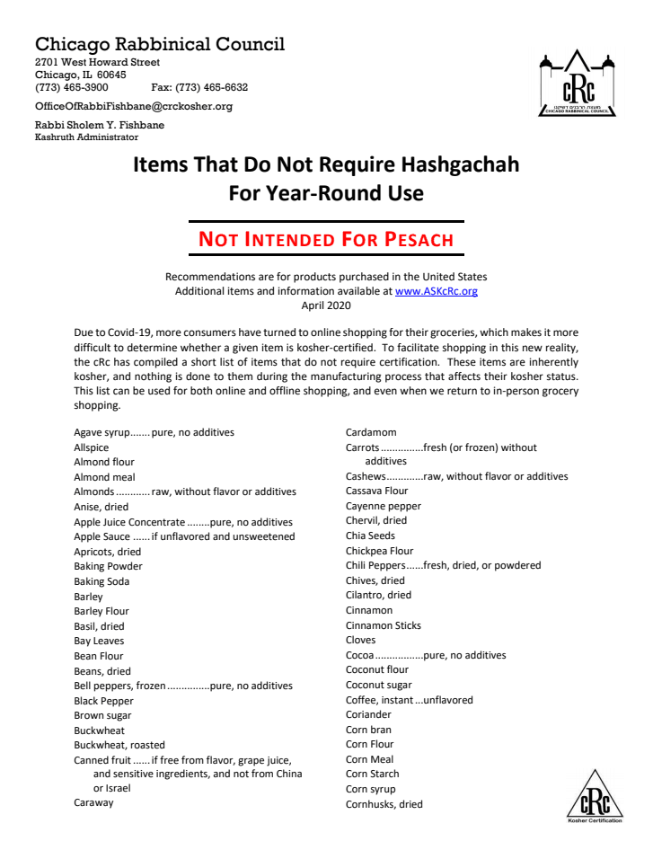 Items That Do Not Require Hashgachah For Year-Round Use 1