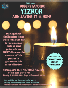 Understanding Yizkor and saying it at home 1