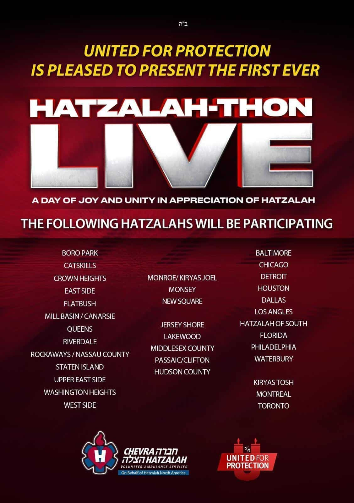 UnitedForProtection.com Presents Hatzalah-Thon Live on Lag B'Omer 3