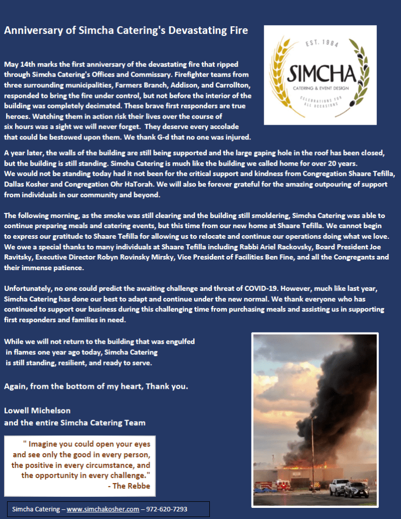On the Anniversary of Simcha Catering's Devastating Fire 1