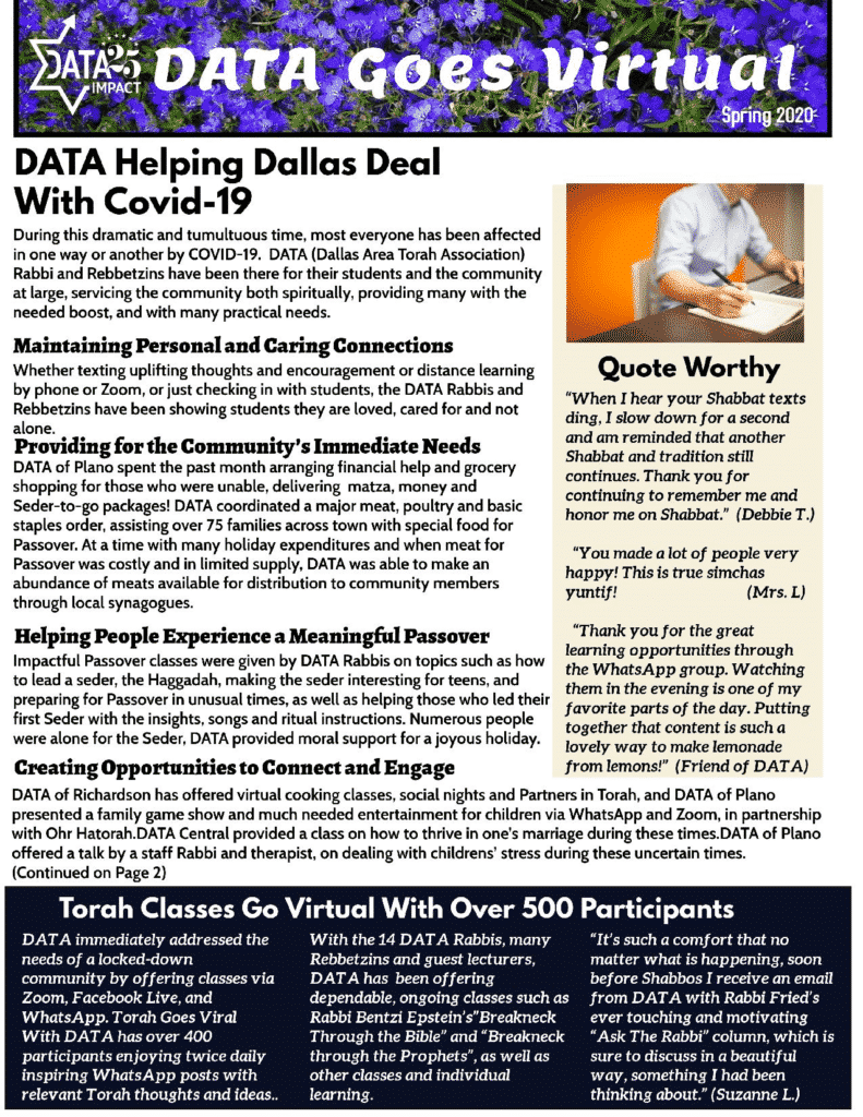 DATA Goes Virtual: Spring 2020 1