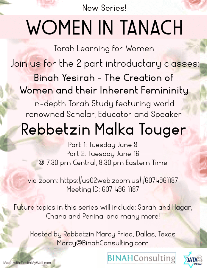 Women in Tanach: Shiur Tonight 1