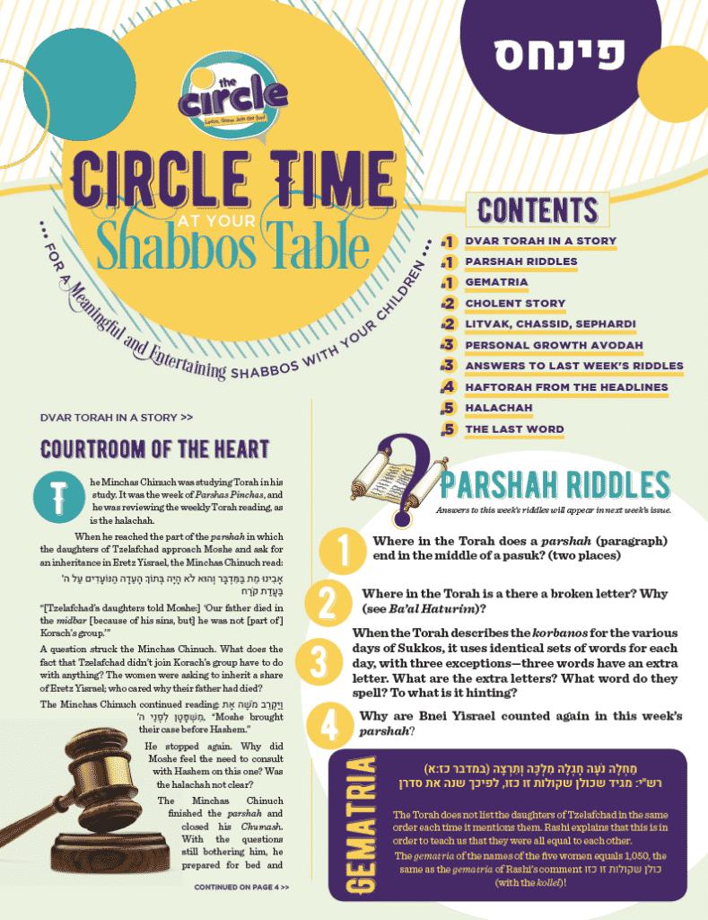 Circle Time at the Shabbos Table: Parshas Pinchas 1